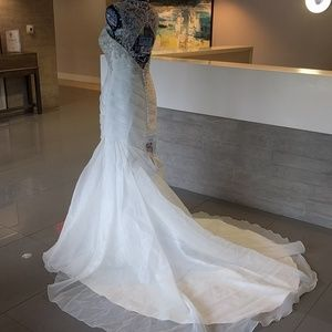 Jasmine Collection ivory and silver mermaid gown